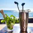 Royalty-Free Stock Photo: Bar accessories with inox shaker