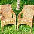 Wicker comfortable chair — Stock Photo
