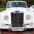 Classic old car white front view — Stock Photo