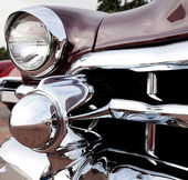Classic old car close-up front left view — Stock Photo