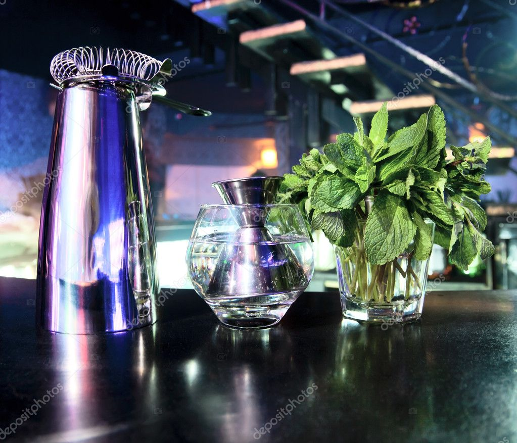 Peppermint herb, shaker and bar inventory at a nightclub  Stock Photo #9624892
