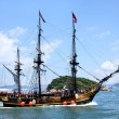 Historic old ship in the ocean — Stock Photo