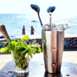 Bar accessories with inox shaker - Stock Photo
