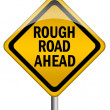 Stock Photo: Rough road ahead sign