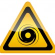 Hurricane warning sign - Stock Photo