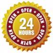 Open twenty four hours — Stock Photo