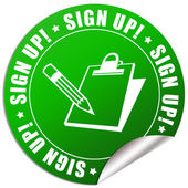 Sign up sticker — Stock Photo