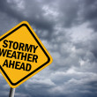 Stock Photo: Stormy weather warning sign