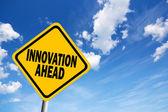 впереди знак инноваций — Стоковое фото