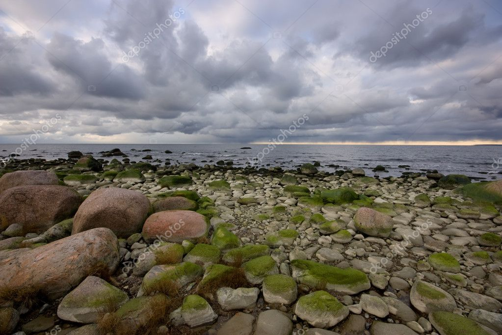Landscape of sea bank with stones — Stock Photo #9653103