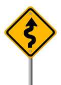 Curvy road sign — Stock Photo