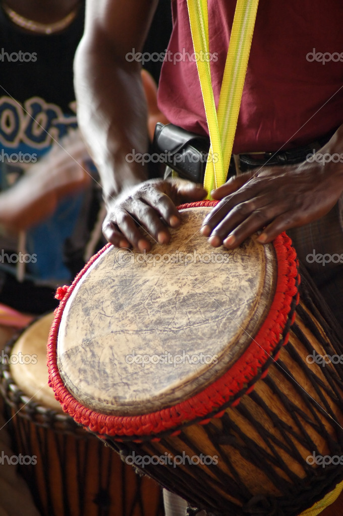 Close up of an African djembe drummer — Stock Photo #8961606
