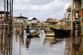 Boats in stilt village of Ganvie — Stock Photo