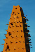 Close up of minaret on Agadez mosque — Stock Photo