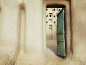 Entrance door to a mud mosque in a Dogon village — Stock Photo