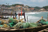 Fishing nets and boats on Cape Coast foreshore #2 — Stock Photo