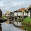 Stock Photo: Waterway of stilt vilage of Ganvie