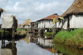 Waterway of stilt vilage of Ganvie — Stock Photo