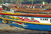 West African fishing boats on the beach — Stock Photo