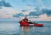 Rescue vessel sailing out for offshore service — Stock Photo