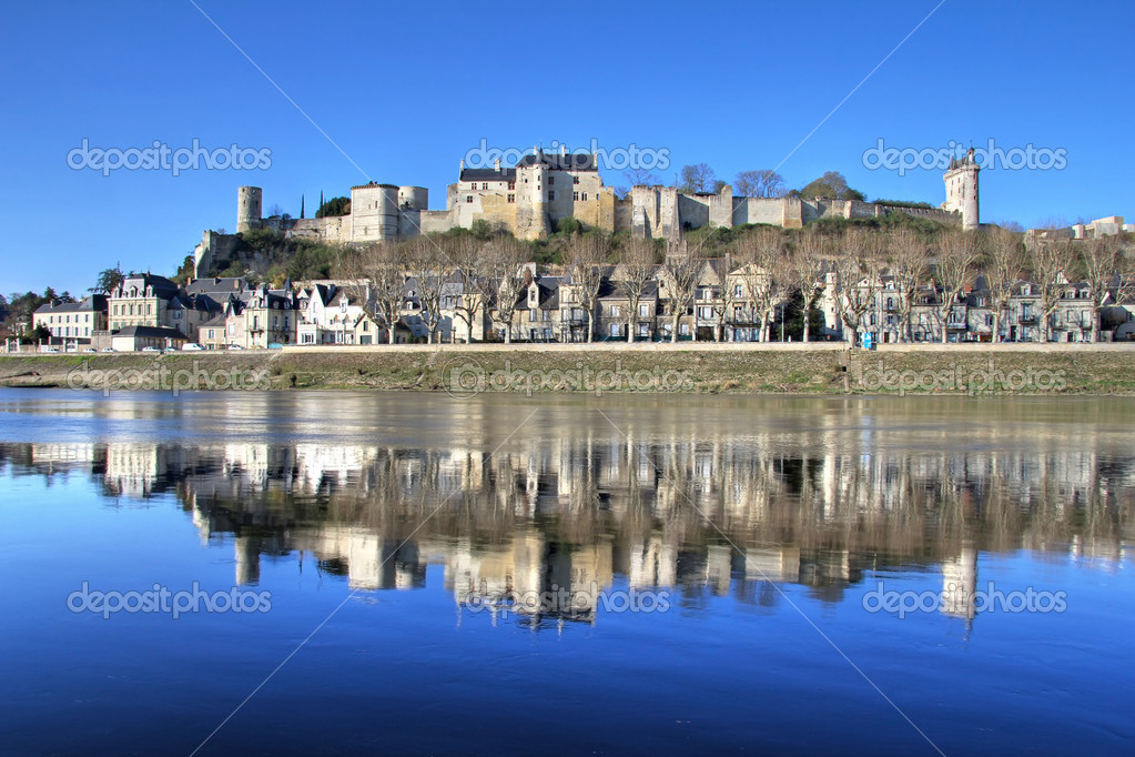 Reflection of medieval town of Chinon with walled castle uphill . Loire valley , France — Stock Photo #10234367