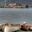 Two boats on the shore of lake Orta — Stock Photo