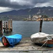 Black sky on San Giulio - Stock Photo