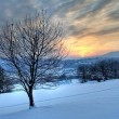 Magical winter sunset - Stock Photo