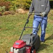 Gardener with lawnmower — Foto Stock