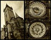 Prague astronomical clock collage — 图库照片
