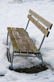 Alone park bench — Stockfoto