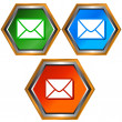 Three mail icons — Stock Vector