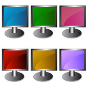 Six monitors in vector — Stock Vector