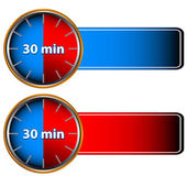 30 minutes labels — Stock Vector
