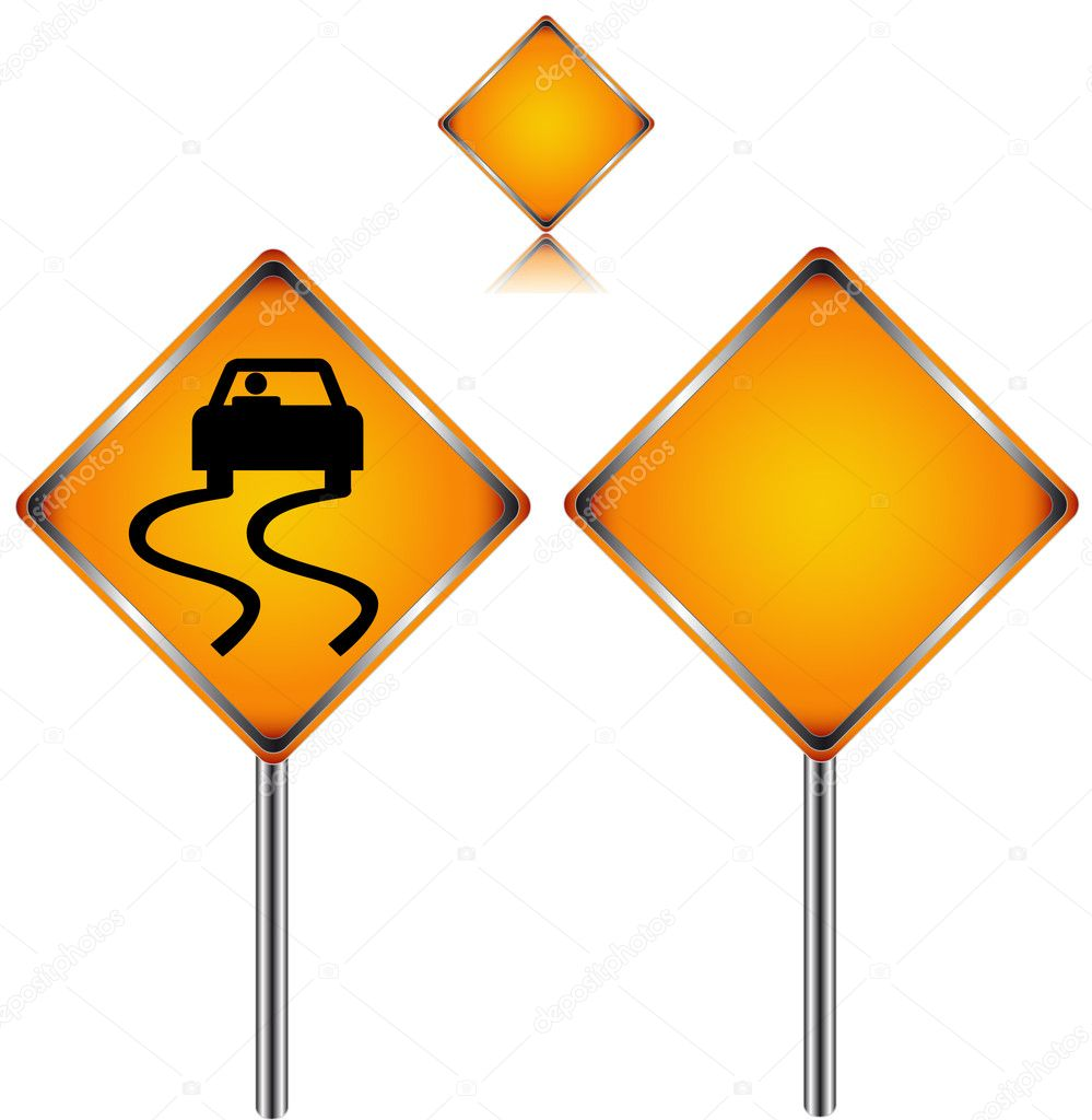 Three traffic signs in different variants on a white background — Stock Vector #8971327