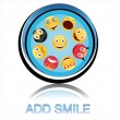 Stock Photo: Button add smile