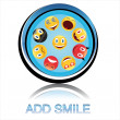 Button add smile — Stock Photo
