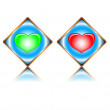 Two signs on heart — Vector de stock #9132424