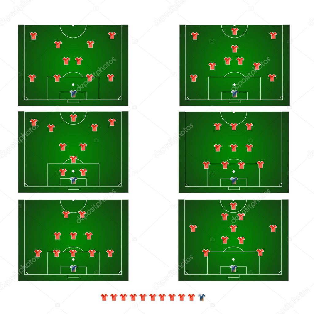 Six various football tactics made in a vector — Stock Vector #9132018