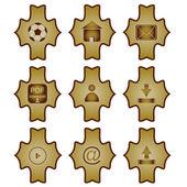 Nove icone vintage — Vettoriale Stock