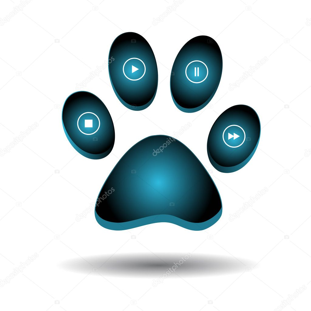 Web a paw with buttons instead of fingers — Stock Vector #9595220