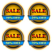 Four buttons sale — Stock Vector