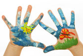 Child Hand Painted — Stock Photo
