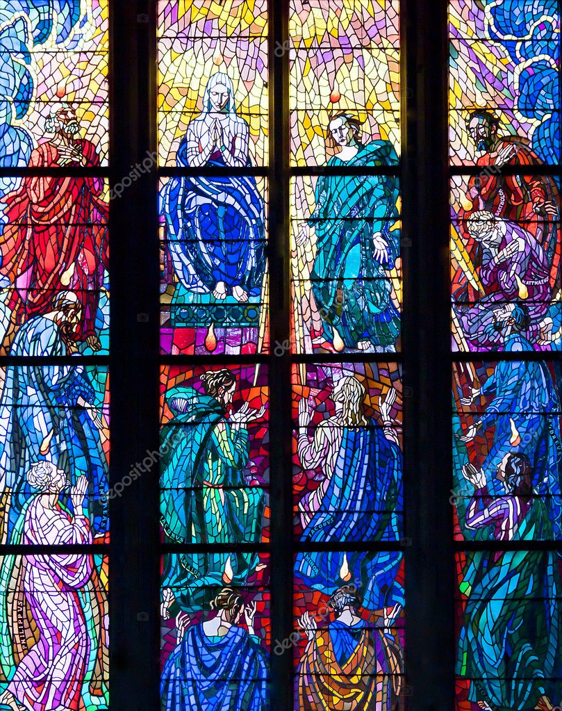 Stained-glass window in Catholic temple  Stock Photo #9250608