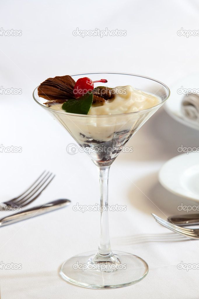 Tasty dessert on white table — Stock Photo #9116931