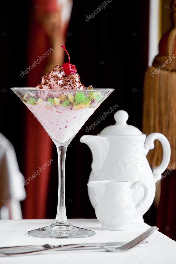 Tasty dessert on white table — Stock Photo #9117414