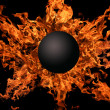 Planet against bright flame - Foto Stock