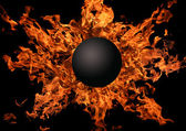 Planet against bright flame — Stock Photo
