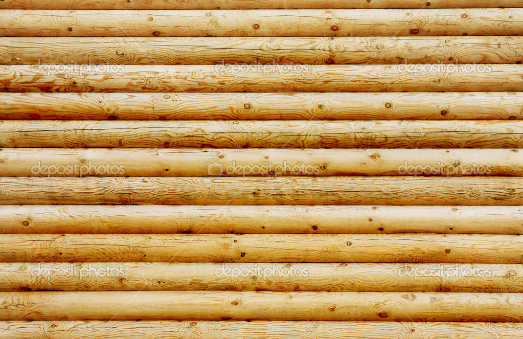 Background wall from new pine logs — Stock Photo #10134213