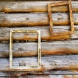 Two wooden frameworks on an ancient timbered wall — Stock Photo
